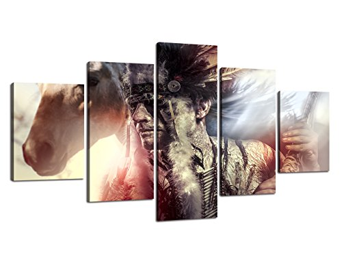 Figure Series Home Decor Artwork Native American Indian warrior Feather Headdress and Horse Wall Art 5 Piece Paintngs Mystic Print on Canvas Framed for Living Room Hooks Ready to Hang(60''Wx32''H)