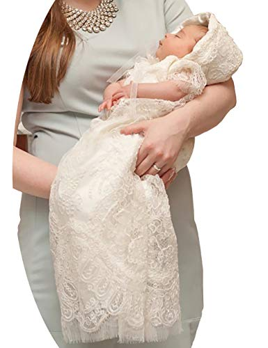 (Aorme Ivory Lace Baby-Girls Christening Baptism Gowns with Hat Trim Edge)