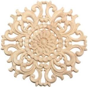 Tutoy - Marco de Madera Tallada en Forma de Flor sin Pintar para Decoración de Puertas de Muebles (15 cm), 1