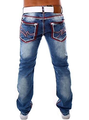 Jeel Herren Jeans Straight Cut Dicke Naht Jeanshose j995 Regular Fit 36W/32L, blau