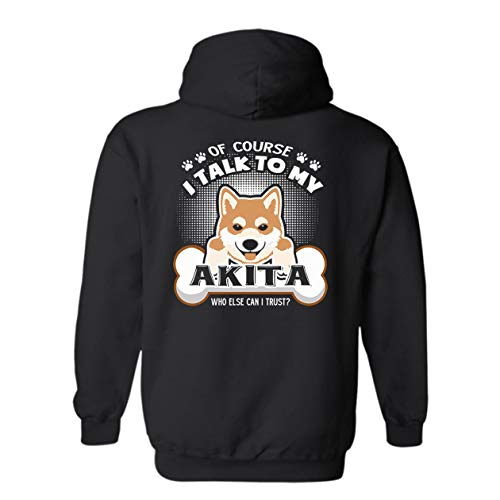 Addblack I Talk to My Akita Hooded Sweatshirt, Long Hoodie Design Black,3XL ()