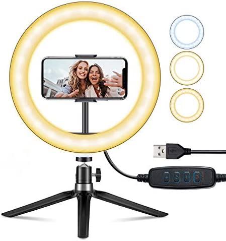 "10"" Selfie Ring Light with Stand & Phone Holder for Live Stream/Makeup/Videoconferencing, VicTsing Dimmable Desk Led Ring Light for YouTube Video/Photography/Volg"