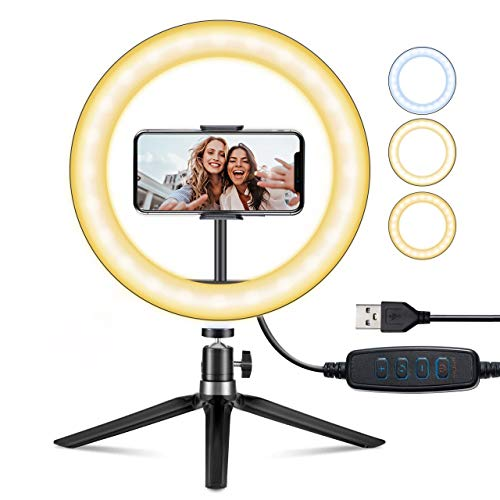 "10"" Selfie Ring Light with Stand & Phone Holder for Live Stream/Makeup/Videoconferencing, VicTsing Dimmable Desk Led Ring Light for YouTube Video/Photography/Volg/"