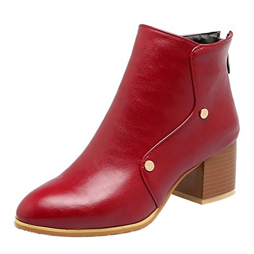 COOLCEPT Damen Freizeit mit Absatz Ankle Stiefel Back Zip (38 As, Wine Red)