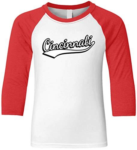 Amdesco Cincinnati, Ohio Youth Raglan Shirt, Red/White Medium