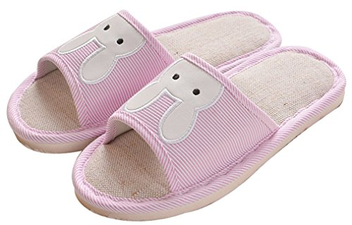 Blubi Mujeres Summer Bunny Flax Antideslizante Ladies Slippers Zapatillas De Interior Rosa