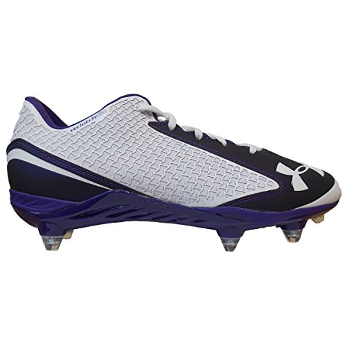 Under Armour Men's Team Nitro Low D Football Cleats (15, White/Purple)
