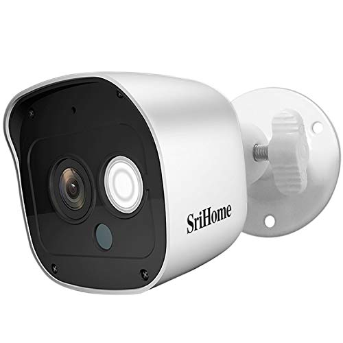 Srihome SH029 3MP Ultra HD 1296p Wireless WiFi Waterproof Indoor/Outdoor CCTV IP Security Camera – White, (Model…