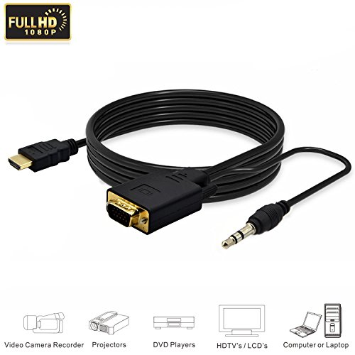 Cable Hdmi Full Hd - eBerry 1080P Full HD HDMI to VGA Converter Adapter Cable w/3.5mm Stereo Audio Output One-way Signal Conversion from HDMI (PC, Laptop, Apple TV, Xbox, PS4) to VGA (Monitor, Projector, TV), 1.8m/6ft