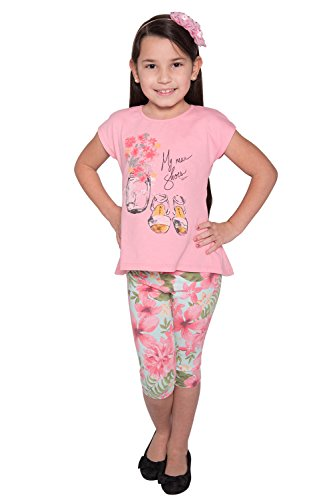 Pulla Bulla Little Girl Floral Set Shirt and Leggings Outfit Size 6X Bubble