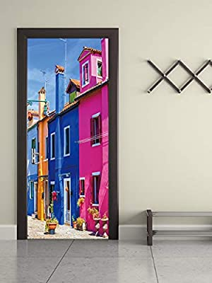 Anti-3D pegatinas estéreo de la puerta de Venice street sala de dormitorio puerta personalizada pegatinas de pared decorativas papel tapiz autoadhesivo