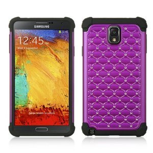 Galaxy Note 3, VMG 3-Item Wall Charger Combo Bundle for Samsung Galaxy Note 3 (3rd Generation; 2013 Version) Fancy Pretty Bling Gem Rhinestones Design Cell Phone Case Cover - Purple/Black + LCD Clear Screen Saver Protector + Premium Home Wall (Wall Outlet) Travel Charger