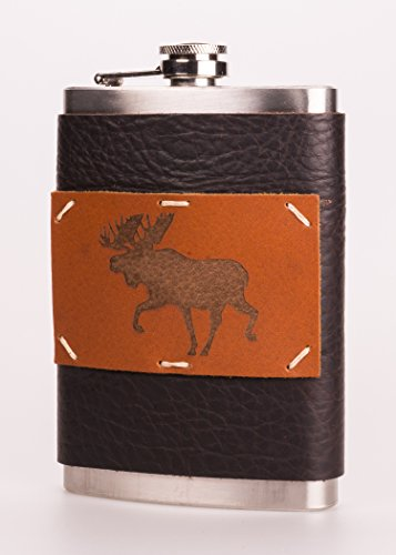 Textured Flask - Leather + Stainless Steel 8 oz Flask with Moose Design (F8-33)