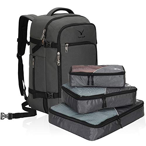 Hynes Eagle Travel Backpack 40L Flight Approved Carry on Backpack Grey with 3PCS Packing Cubes 2018 (The Best Travel Backpack 2019)