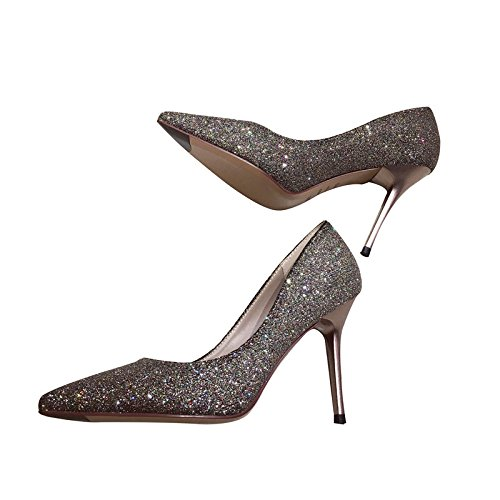 High Tip A 34 Golden Shoes With Bridemaid Sequins All Lady Etiquette Leisure Heeled Fashion Elegant Fine Spring Shoes Match MDRW Work 9Cm C6wq7x18