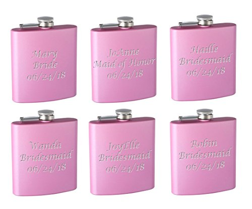 Top Shelf Flasks 6-Pack Personalized (Custom Engraved) 6oz Bridal Party Hip Flasks, Pink or Purple (Pink) ()