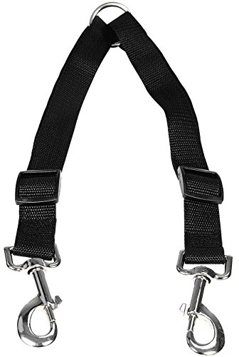 HTKJ No Tangle Dog Leash Coupler, Dual Double Dog Adjustable Splitter Lead for Two Dogs Durable Walker and Trainer Leash 1 X 16-23 Inches (Strong Super Collar Adjustable)