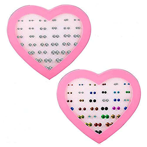 SMUOBT Gifts for Women Stud Earring 36-72Pairs 2-7MM Silicone Earring Set Plastic Post Multi Color Clear CZ Ear Stud Earring