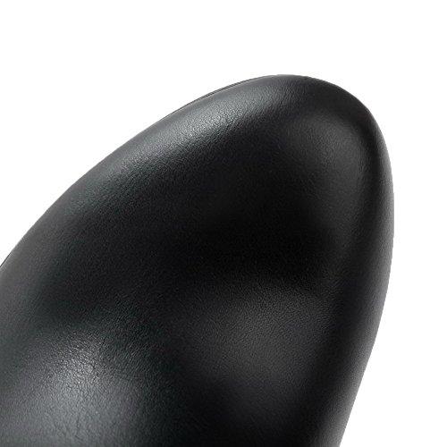 Allhqfashion Womens Tacco A Spillo Chiuso Punta Stiletti Materiale Morbido Stivali Superiori Alti, Nero, 39