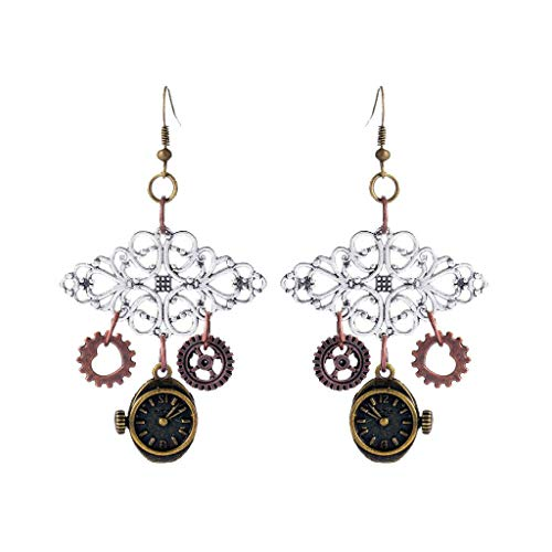 - 1 Pair Vintage Antique Alloy Steampunk Watch Parts Clock Gears Earrings Necklace Jewelry Crafting Key Chain Bracelet Pendants Accessories Best