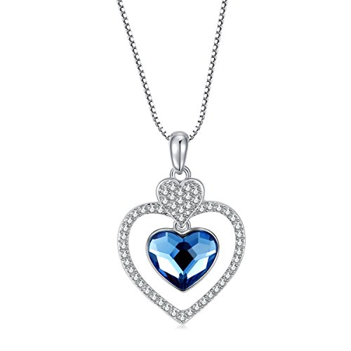 Carfeny ❤️ Forever Love ❤️ 18k Gold Plated Sparkling Swarovski Elements Crystal Double Love Heart Necklace for Women - Gift Packing (Heart Double Floating)