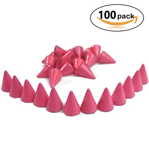 100pcs Colorful Cone Spikes Screwback Studs DIY Craft Cool Rivets Punk Stud Coincal 7x10mm 1/4 3/8 - Pink