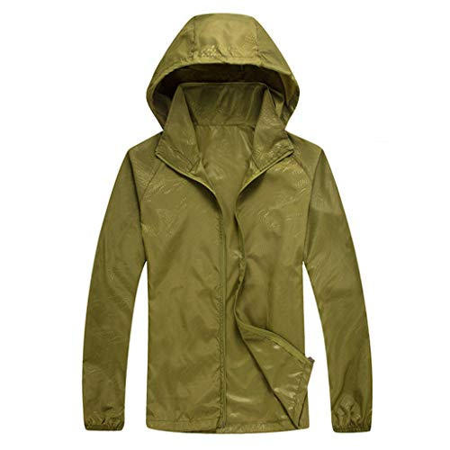 (Tantisy ♣↭♣ Women Men's Waterproof Outdoor Active Hooded Rain Trench Jacket Sun Protection Clothing Overalls (with Pockets) Army Green)