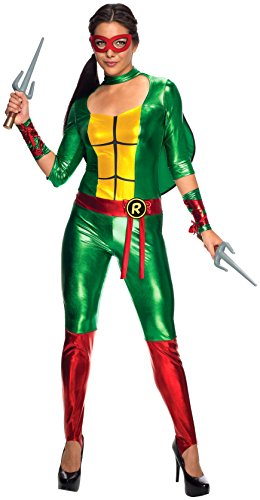 Tmnt Suit (Secret Wishes Women's Teenage Mutant Ninja Turtles Raphael Costume Jumpsuit, Multi, Small)