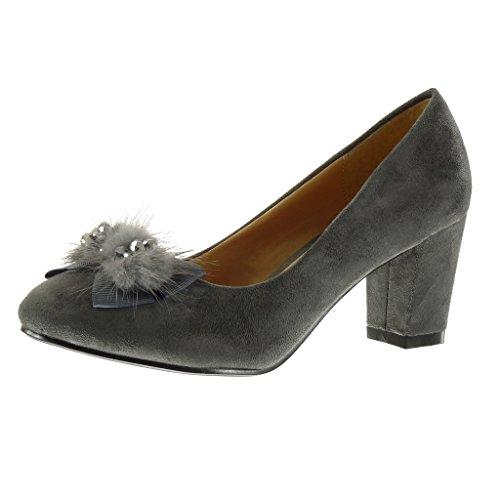 Angkorly - Chaussure Mode Escarpin femme noeud papillon pom-pom strass diamant Talon haut bloc 7 CM - Gris