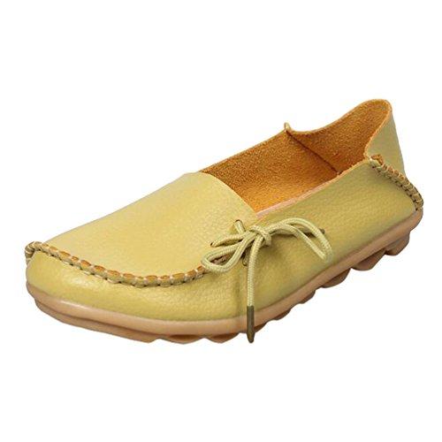 Heheja Mujer Mocasines de Cuero Loafers Casual Piso Zapatos Zapatillas con Bowknot Manzana Verde