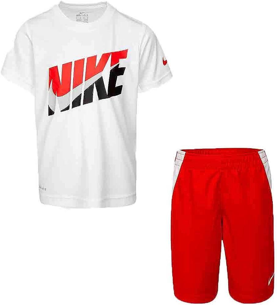 Nike Boy`s Dri-Fit T-Shirt & Shorts 2 Piece Set (University Red(76G054-U10)/White, 2T)