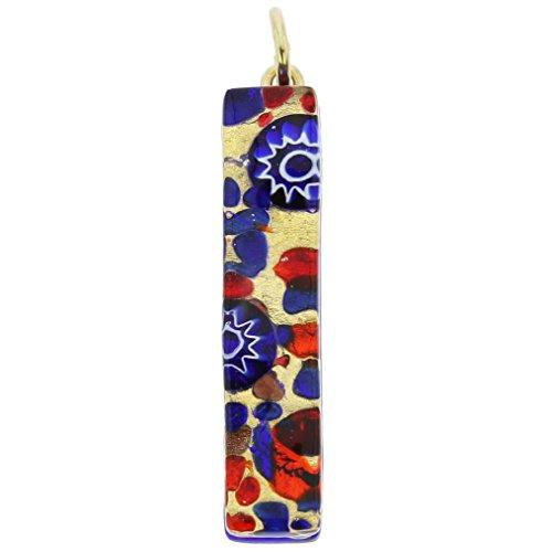 GlassOfVenice Murano Glass Venetian Reflections Stick Pendant - Blue - Glass Blue Murano Pendant