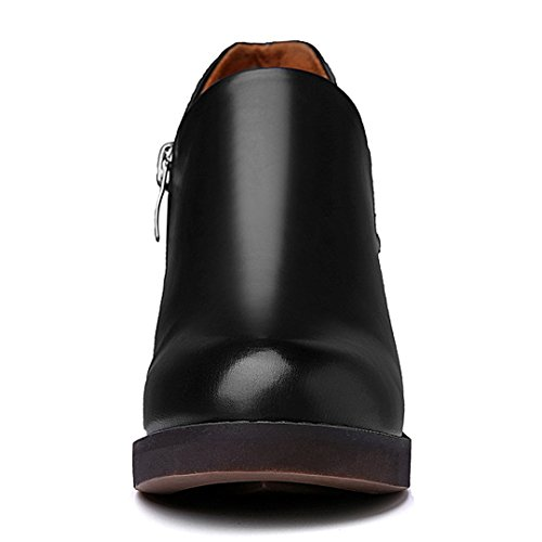 Heel Leather Shoes Chunky Block Sneakers Black Women's Toe Round Fashion nUSWHR7