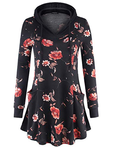 VALOLIA Pullover Hoodie Women, Ladies Vintage Floral Printed Sweatshirt Dress Lightweight Swing Tops with Pocket MBK (Flower Womens Dress Jumper)