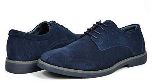 Bruno Marc Men's Wrangle Navy Suede Leather Lace Up Oxfords Shoes - 11 M US