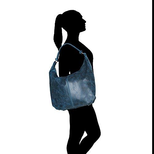 Cuir Sac Borse Grande Chicca Avec Poignée Italie Fabriqué Jeans À Femme Bandoulière Blue En Véritable 45x35x4 Cm Uz5Cqpqw