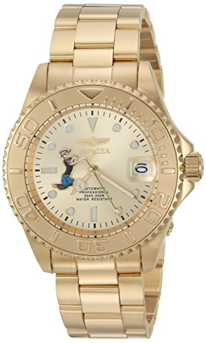 Invicta Men's Character Collection Automatic-self-Wind Diving Watch with Stainless-Steel Strap, Gold, 9 (Model: 24489)