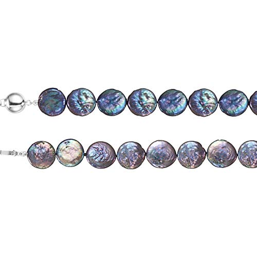 Saris and Things Sterling Silver 13-14 mm Freshwater Cultured Black Coin Pearl Polished 7.75
