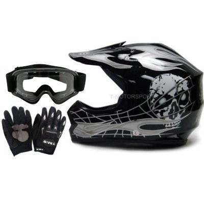 TMS Youth Kids Black Silver Skull Flame Motocross Helmet Goggles and Gloves (Large)