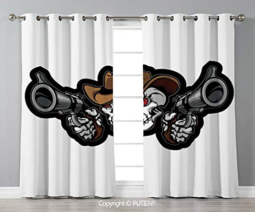 dow Curtains Drapes [ Skull,Skull Cowboy Targets Shooting with the Guns Wild West Scary Illustration Art Decorative,Brown White Grey ] for Living Room Bedroom Dorm Room Classroom K ()