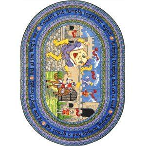 Joy Carpets 1476H Humpty Dumpty 5 ft.4 in. Round 100 Pct. STAINMASTER Nylon Machine Tufted- Cut Pile Just for Kids Rug