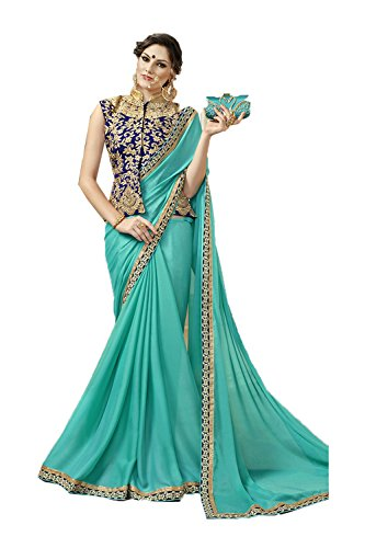 Indian Sarees For Women Wedding Designer Party Wear Turquoise Traditional Sari by PinkCityCreations