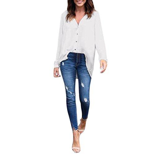 Clearacne!Fashion Women's Long Sleeve Loose Blouse Shirt Chiffon Tops T-Shirt (S, White)