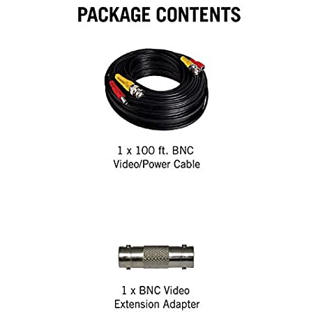 Amazon.com : Night Owl in-Wall Rated 100 BNC/RCA Extension Cable, Black (CAB-UL2-100VP) : Camera & Photo