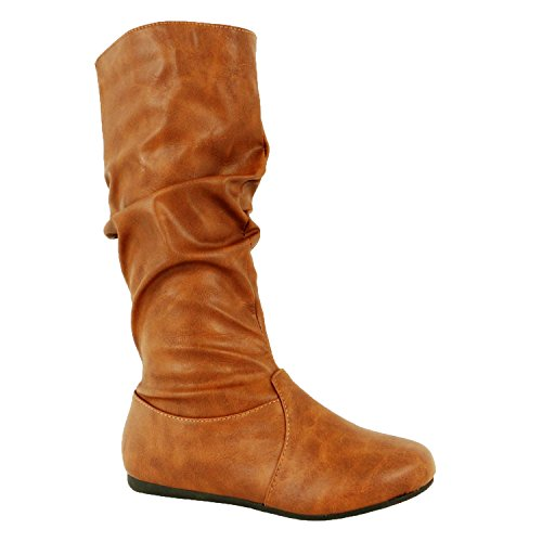 Flat Heel Boots (Guilty Shoes Womens Mid Calf Comfortable Slouchy Solid Color Flat Heel Boots Boots, Tan Pu, 8 (B) M US)