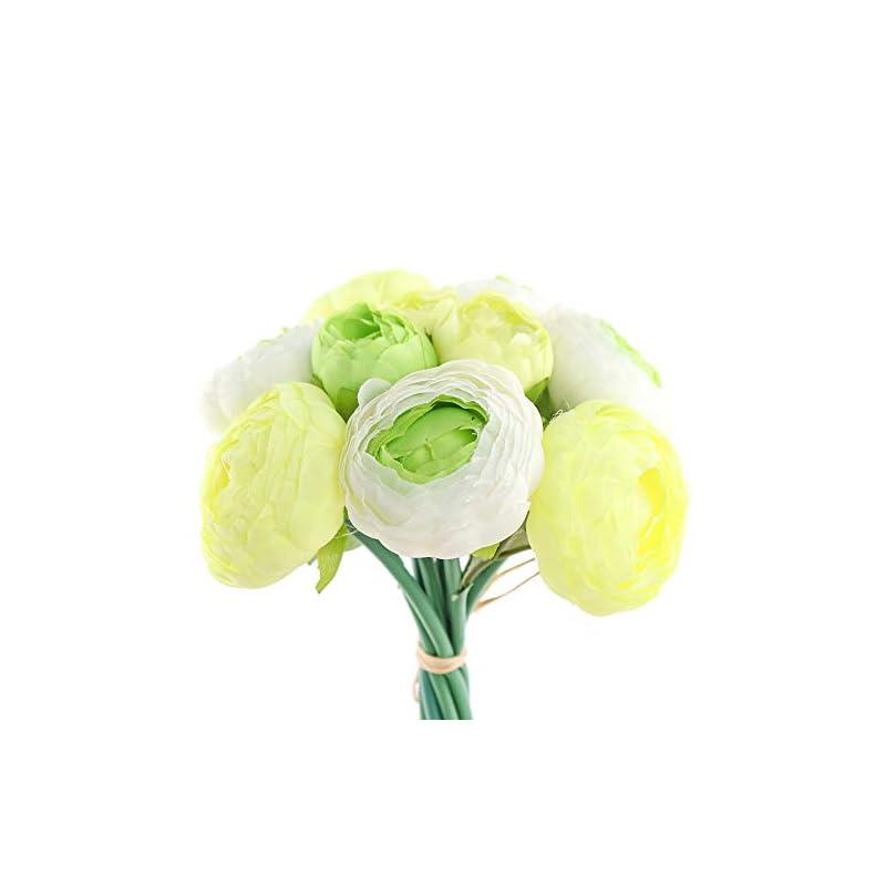silk flower arrangements yunuo 10 heads one bouquet hign quality artificial flower silk vivid peony wedding bridal bouquet home party decorative (green)