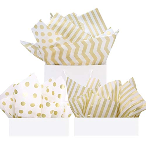 UNIQOOO 60 Sheets Premium Metallic Gold Tissue Gift Wrap Paper Bulk - Stripe, Polka Dot, Wave Gold - 20