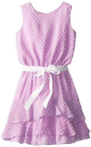 Blush by Us Angels Big Girls' Clip Dot Dobby Dress with Tiered Hemline, Lavender, 16