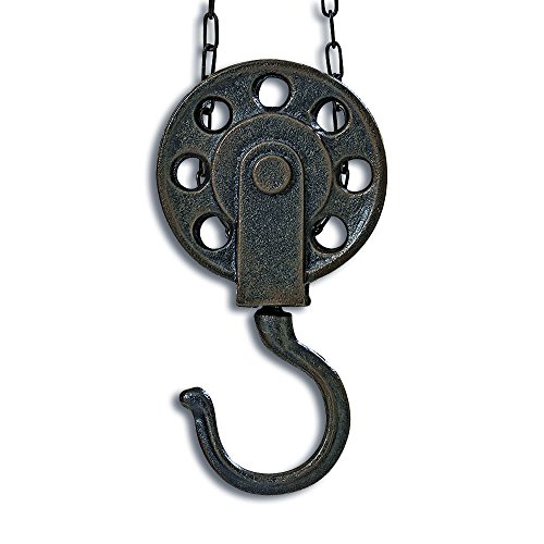 The Industrial Chic Chain Pulley Hook, Retro Vintage Style Reproduction, Old Factory Antiqued Patina, Cast Iron, 19 5/8 Inches Total Length, Decorative Accent, By Whole House Worlds (Iron Rustic Cast Antiqued)