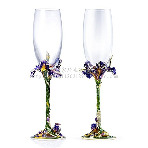 Set of 2 Champagne Glasses Flutes 7 oz, Enameled Bohemia Crystal, Gold PLated Ornament with Swarovski Crystals Jewels, Robbie Rodin Design by Robbie Rodin